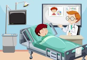 En man är på sjukhuset
