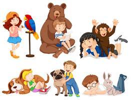 Barn med vilda djur vektor