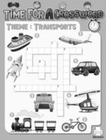 Kreuzworträtsel-Spielvorlage zum Thema Transport vektor