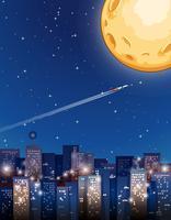 Flygplan som flyger på fullmoon natt