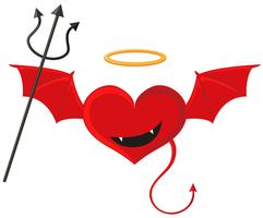 Rotes Herz mit Teufelsflügeln vektor