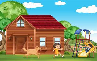 Kinder, die draußen mit Hund spielen vektor