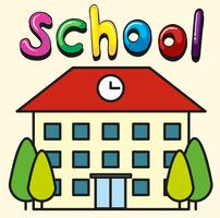 Skolbyggnad med klocka på taket