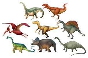 Eine Reihe von verschiedenen Dinosauriern vektor