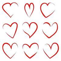 Satz rote dünne Umrisse handgezeichnete Herzen vektor