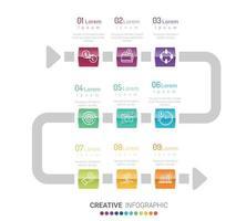 Vektor-Infografik-Design mit 9 Optionen oder Schritten vektor