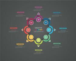Geschäftskonzept mit 8 Optionen, Teilen, Schritten oder Prozessen. vektor