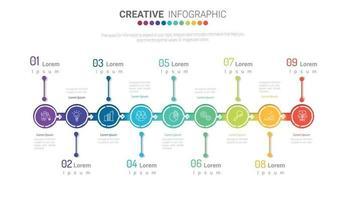 Infografik-Design-Vorlage mit Symbolen und 9 Optionen oder Schritten. vektor