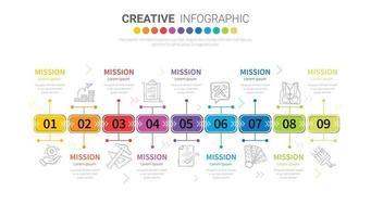 abstrakte Infografiken-Vorlage mit 9 Schritten. Vektor-Illustration. vektor