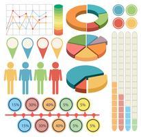 Infografik mit Personen und Grafiken in vier Farben vektor
