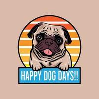 Happy Dog Days Mops Hund lächelnd Konzept Vektor-Illustration isoliert vektor