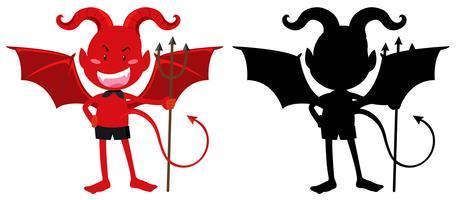 Roter Teufel und seine Silhouette vektor