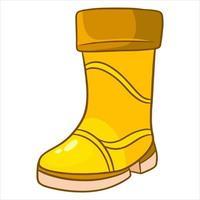 Regenschutz. ein gelber Gummistiefel zum Laufen in Pfützen und Matsch. vektor