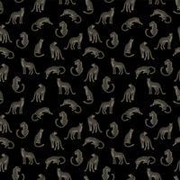 Sömlöst mönster med leoparder. vektor