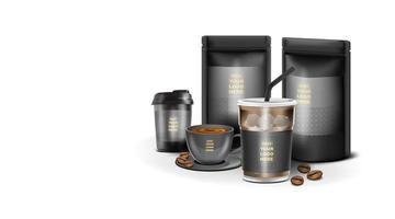 kraftpapierfolie reißverschlussbeutel lebensmittel-standbeutel mit kaffeetasse. vektor