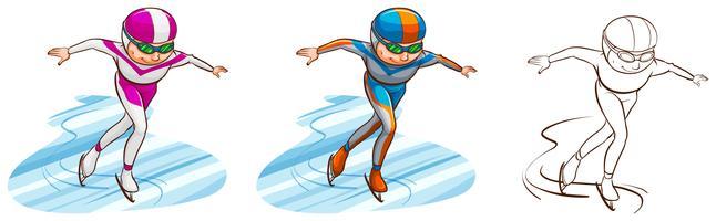 Mann, der in drei Skizzen Eislauf tut