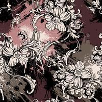 Eklektisches nahtloses Muster mit Sprühfarbe und barocker Verzierung. vektor