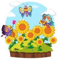 Fjärilar som flyger runt blomsterträdgården vektor