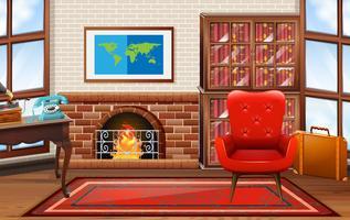 Raum mit Kamin und Bücherregalen