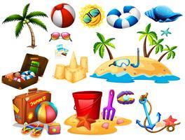 Sommaruppsättning med leksaker och ö