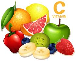 Eine Reihe von Vitamin-C-Früchten