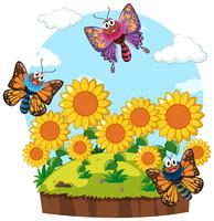 Trädgårdsplats med fjärilar i solrosträdgård vektor
