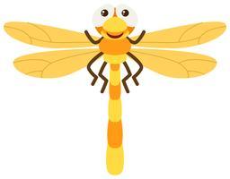 Slända med gula vingar vektor