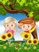 Pojke och tjej i solrosträdgård vektor