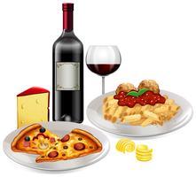 Eine italienische Küche auf weißem Hintergrund