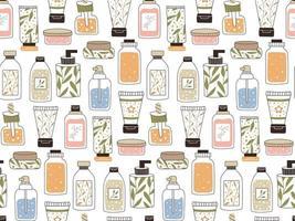 nahtloses, sich wiederholendes Muster mit Kosmetik. ein Set Flaschen und Tuben vektor