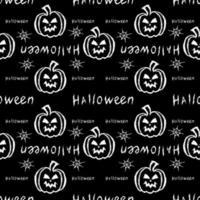 Halloween nahtloses Muster mit Kürbis und Spinnennetz vektor