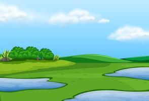Eine wunderschöne grüne Landschaft vektor