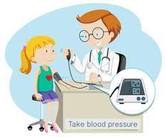 En flicka tar blodtrycket med doktorn