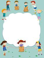 Grenzschablone mit den Kindern, die Spiele spielen vektor