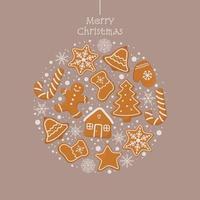 Weihnachtsgrußkarte mit Lebkuchenplätzchen vektor
