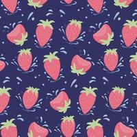 nahtloses Muster von frischen Erdbeeren. Erdbeeren mit Wassertropfen. vektor