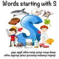 Englisches Wort, das mit S-Illustration beginnt