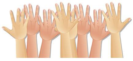 Menschliche Hände mit unterschiedlicher Hautfarbe vektor