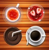 Getränke in Glas und Tassen