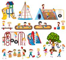 Set von Kindern am Spielplatz vektor