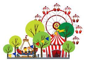 Riesenrad und Kinder auf der Fahrt vektor