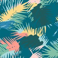 Seamless exotiskt mönster med tropiska växter och konstnärlig bakgrund