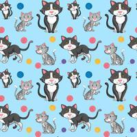 Unterschiedliche Katze auf nahtlosem Muster vektor
