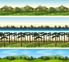 Olika bakgrundsscenarier av berg och träd vektor