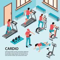 Cardio-Fitnessstudio isometrische Hintergrund-Vektor-Illustration vektor