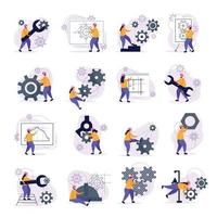 Engineering Icons Set Vector Illustration