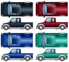 Olik färg på pickupbilar vektor