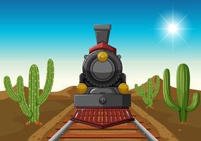 Tågresa i mitten av öknen vektor