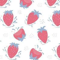 Muster von frischen Erdbeeren. Erdbeeren mit Wassertropfen. vektor