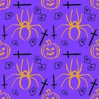 Halloween-nahtloses Muster. Kürbisspinnen-Geisterkreuz vektor
